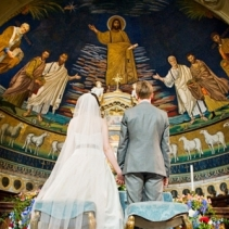 Catholic wedding in Rome and beautiful reception in historical Baroque Palace