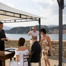 Outdoor civil wedding on the castle of Lerici, Italian Riviera